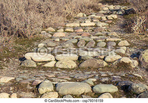 Ancient stone steps. The texture of natural stone with sprouted grass. - csp79316159
