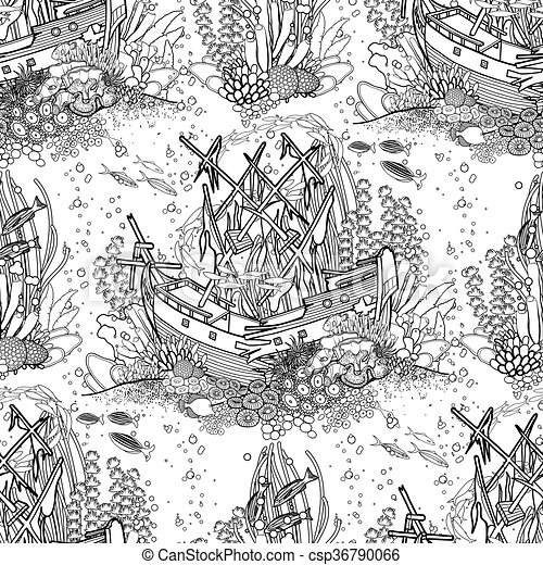 Ancient sunken ship and coral reef pattern - csp36790066