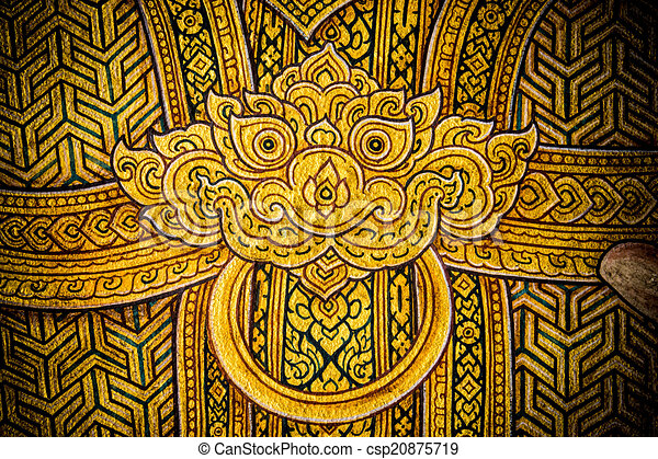 Ancient thai pattern on wall in thailand buddha temple , asian ...