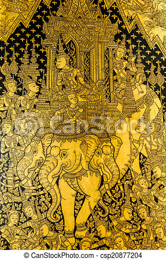 Ancient thai pattern on wall in thailand buddha temple , asian b ...