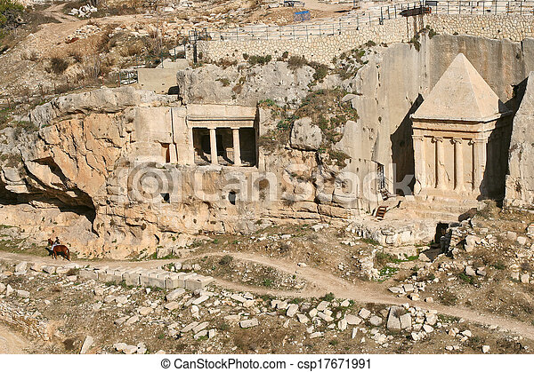Ancient tomb and cemetery in Jerusalem, Israel. - csp17671991