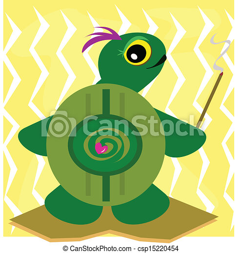 Ancient Turtle with Smudge Stick - csp15220454