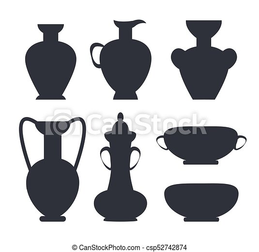 Ancient Vases Black Silhouettes Isolated Vector Ancient Clay Vases