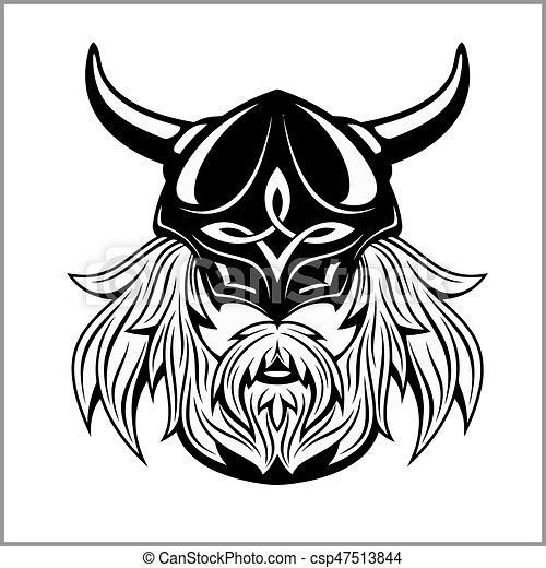 Ancient viking head logo for mascot design. - csp47513844