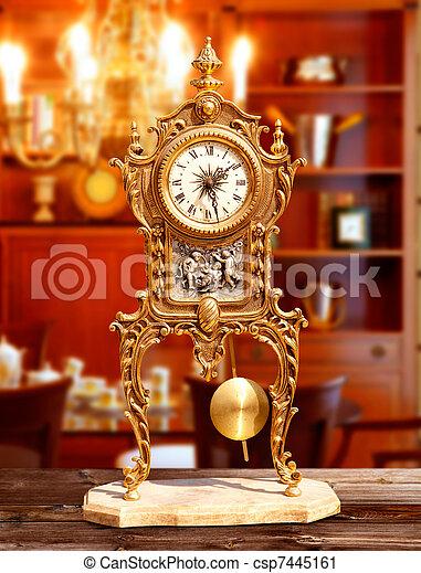 ancient vintage brass pendulum clock - csp7445161