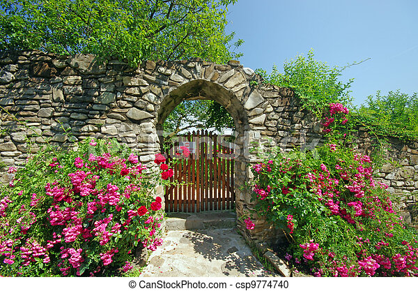 Ancient wall with flowers - csp9774740