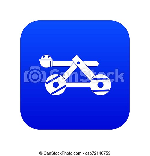 Ancient wooden catapult icon digital blue - csp72146753