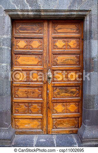 Ancient wooden door Santa Cruz de La Palma - csp11002695