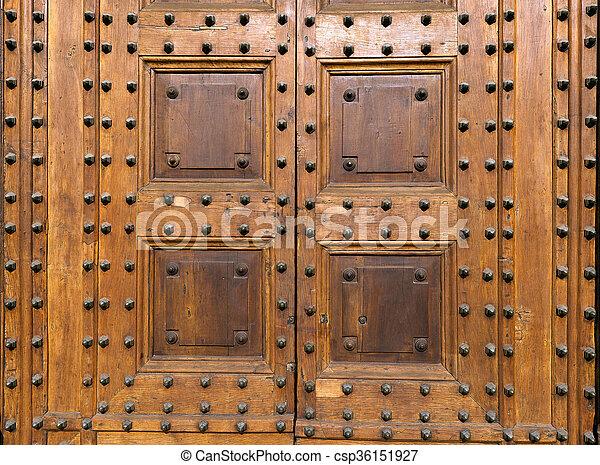 Ancient Wooden Door with Studs - csp36151927 & Ancient wooden door with studs. Detail of an ancient wooden door ...