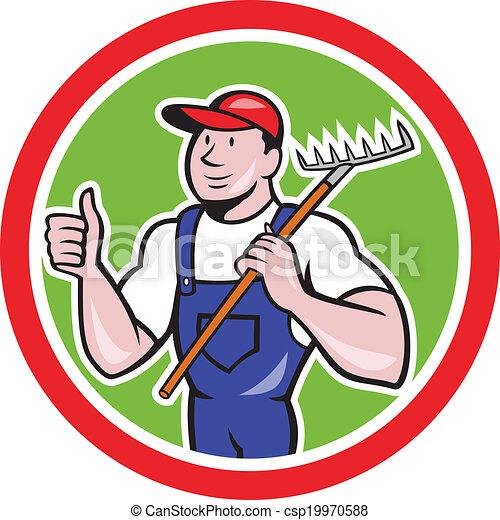 ancinho, cima, polegares, segurando, agricultor, caricatura, jardineiro - csp19970588