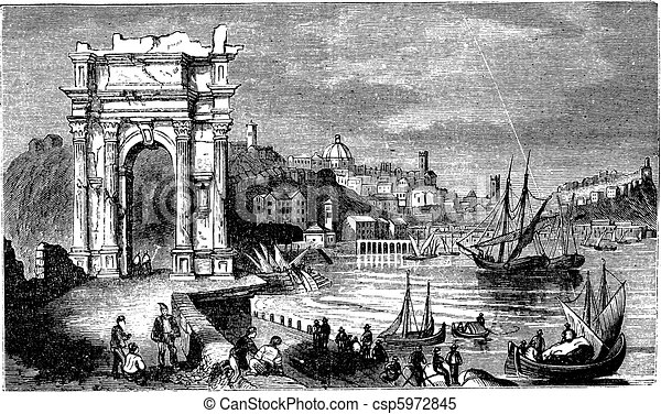 Ancona and the Arches of Trajan, Italy. Scene from 1890, old vintage illustration. - csp5972845