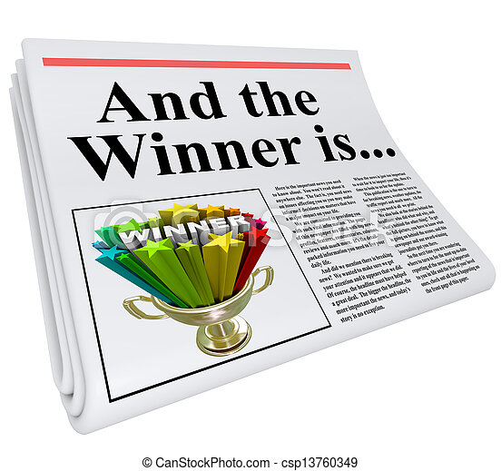 And the Winner Is Newspaper Headline Announcement Trophy - csp13760349