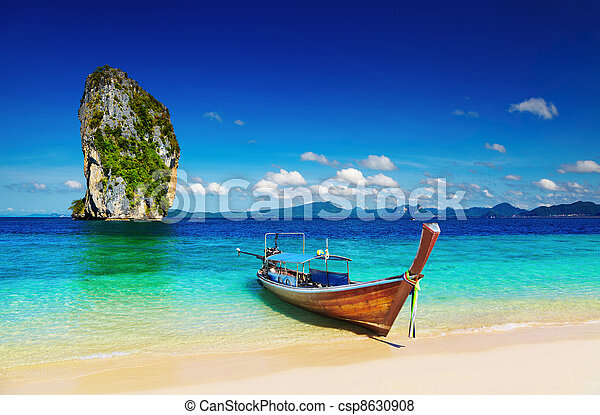 Playa tropical, mar de hombres, Tailandia - csp8630908
