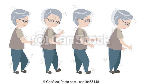 andar, antigas, parkinson's, sintomas, homem, difícil - csp19455148