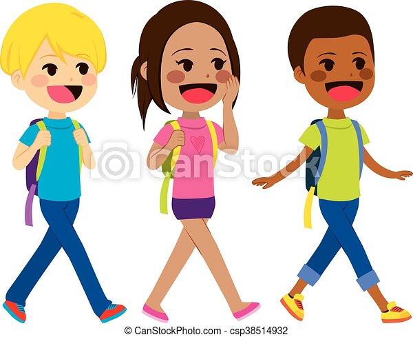 andar, crianças, escola - csp38514932
