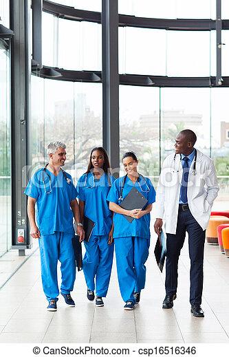 andar, grupo, hospitalar, saúde, trabalhadores, cuidado - csp16516346
