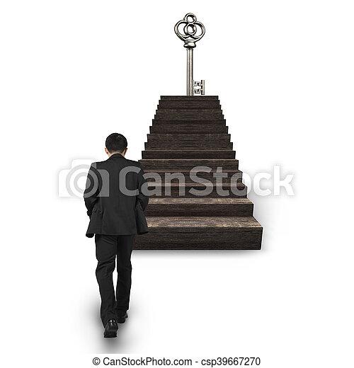 andar, topo, tesouro, tecla, direção, escadas, homem - csp39667270