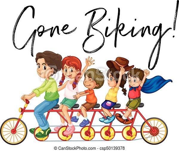 Andato Famiglia Bicicletta Frase Sentiero Per Cavalcate Biking