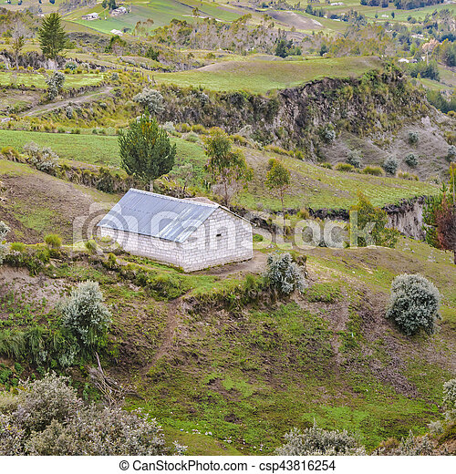 Andean rural scene with andes range mountains at background in Quilotoa town, Latacunga, Ecuador