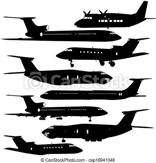 anders, silhouettes., illustratie, vliegtuig, vector, verzameling - csp16941046