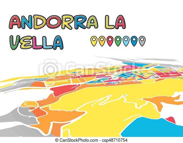 Andorra la vella downtown 3d vector map of famous streets
