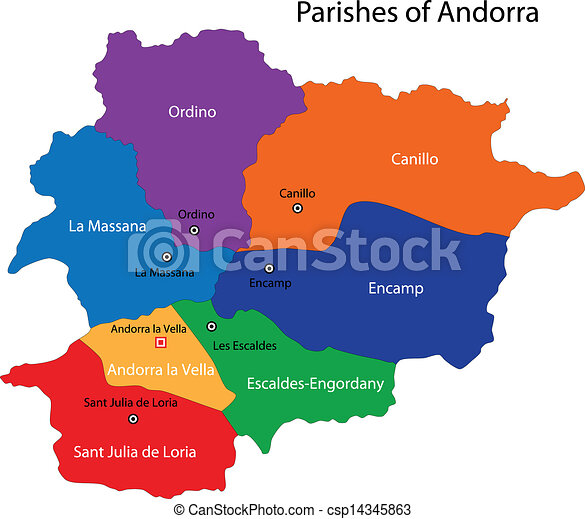Andorra Map Map Of Administrative Divisions Of Principality Of