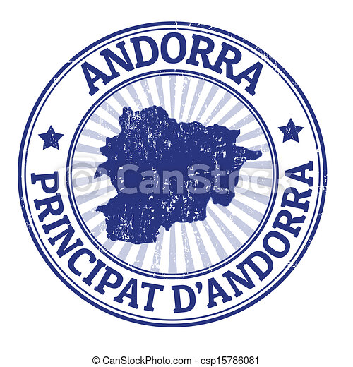Andorra Stamp Grunge Rubber With The Name And Map Of