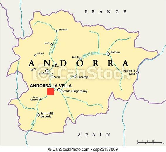 Andorra Terkep Politikai Terkep Scaling Illustration A