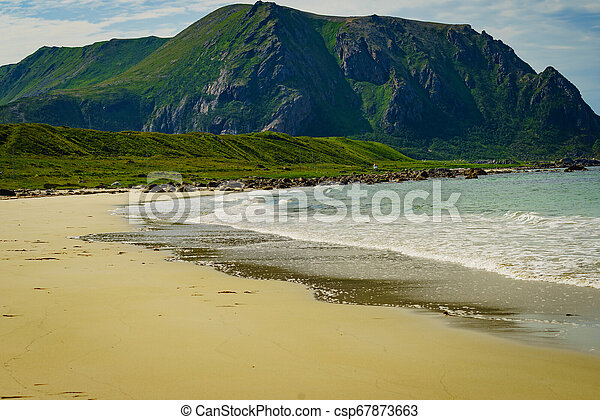 andoya, bleik, 海滩, 海岸, 求助, 海, norway, 沙 - csp67873663