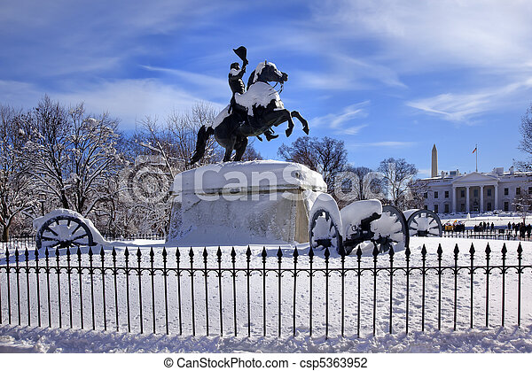 Andrew Jackson Statue Canons President's Park Lafayette Square White House After Snow Washington DC 1850 Clark Mills Sculptor - csp5363952
