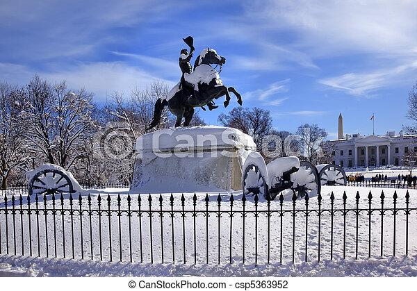 Andrew Jackson Statue Canons President's Park Lafayette Square White House After Snow Washington DC 1850 Clark Mills Sculptor - csp5363952