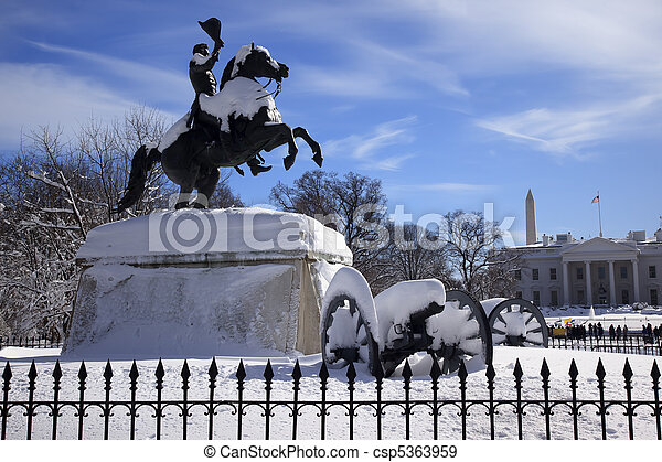 Andrew Jackson Statue Canons President's Park Lafayette Square White House After Snow Washington DC 1850 Clark Mills Sculptor - csp5363959