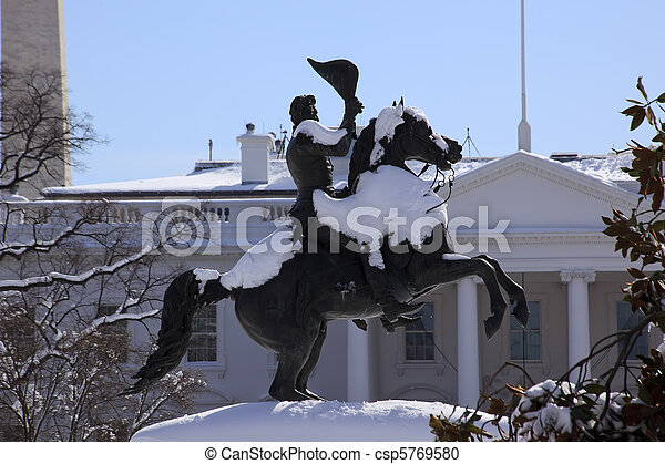 Andrew Jackson Statue President's Park Lafayette Square Monument White House After Snow Washington DC 1850 Clark Mills Sculptor - csp5769580