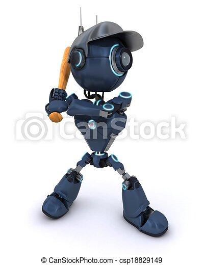 Android playing baseball - csp18829149