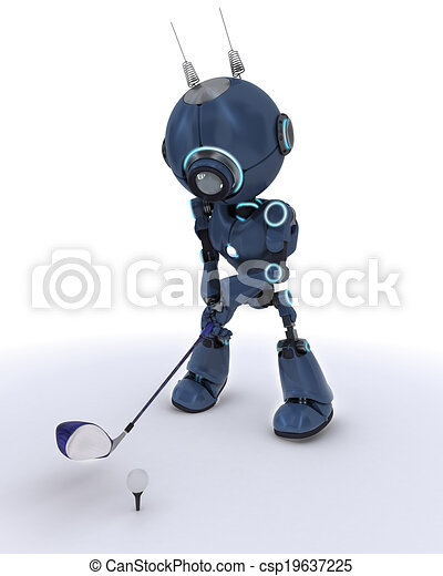 Android playing golf - csp19637225