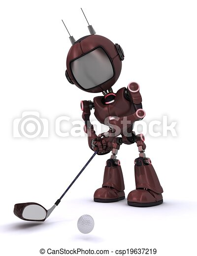 Android playing golf - csp19637219