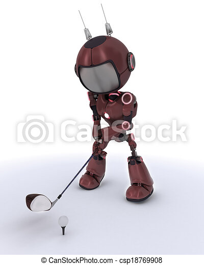 Android playing golf - csp18769908