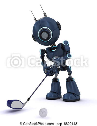 Android playing golf - csp18829148