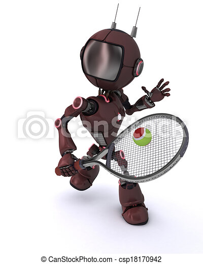 Android playing tennis - csp18170942