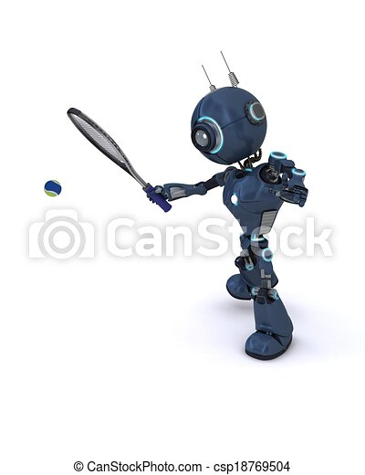 Android playing tennis - csp18769504