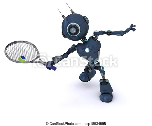 Android playing tennis - csp18534595
