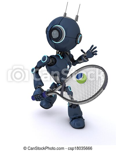 Android playing tennis - csp18035666
