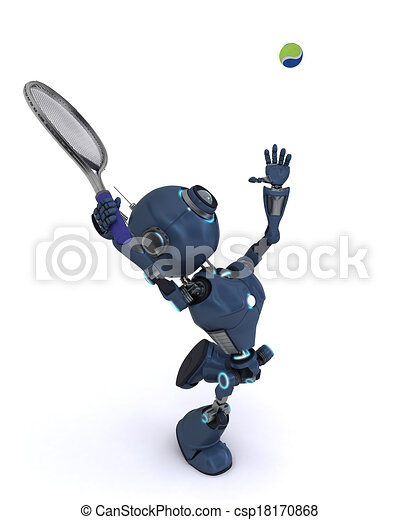 Android playing tennis - csp18170868