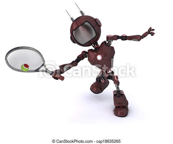 Android playing tennis - csp18635265