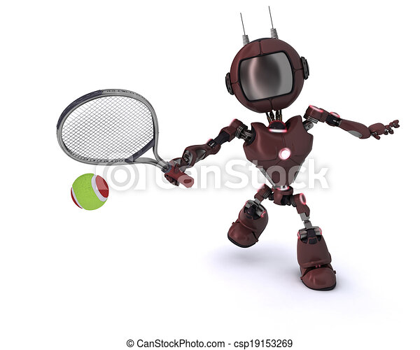 Android playing tennis - csp19153269