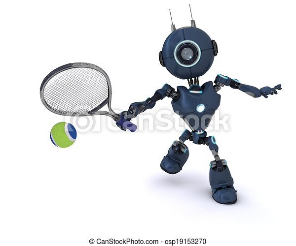Android playing tennis - csp19153270