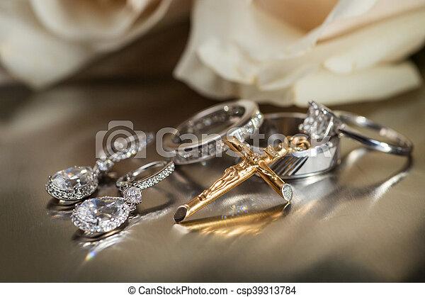 anello, croce, orecchini, pendente - csp39313784