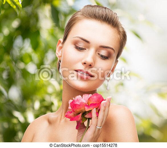 anello, donna, diamante, fiore, orecchini - csp15514278