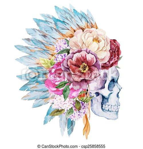 Anemones and skull - csp25858555