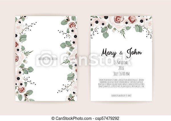 anemones, groen, bloem, tuin, perzik roos, eucalyptus, floral, invitation., vector, ontwerp, trouwfeest, teder, flora, kaart, roze - csp57479292